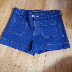 Express high rise denim shorts